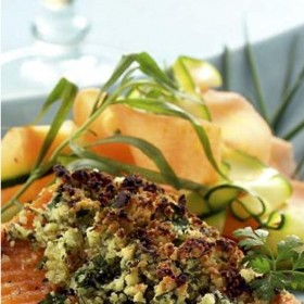 Sea trout crumble herbs and mishmash of vegetables