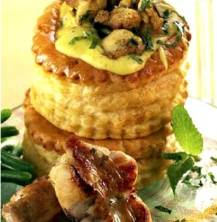 Vol au vent de lapin au curry